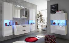 Badezimmer Badmöbel Set Sky hängend Hochglanz weiß 6-teilig mit Waschbecken LED Beleuchtung
