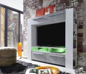 TV-Wand Mediencenter Medium weiß Glanz mit Industrie Beton RGB LED Beleuchtung 165 x 145 cm