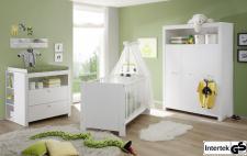 Babyzimmer Set Olivia weiß 3-teilig Kleiderschrank Wickelkommode Babybett