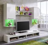 Wohnkombination Anbauwand Giselle weiß glänzend LED Farbwechsel Beleuchtung 210 x 169 cm