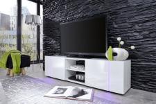 TV-Schrank Disco weiß Glanz mit LED Farbwechselbeleuchtung 160 cm