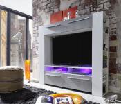 Medienwand Wohnwand Medium weiß Glanz mit Industrie Beton RGB LED Beleuchtung 165 x 145 cm