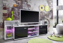 TV Unterteil Fernsehboard Xenon schwarz glänzend mit weiß RGB LED Beleuchtung 190 x 62 cm
