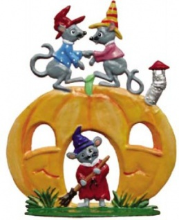 Halloween Kürbis mit Mäusen zum Stellen