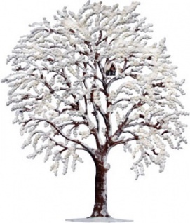 Winterbaum mit Raureif zum Stellen