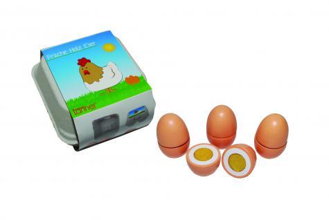 Tanner 0957.6 - Holzspielzeug, 4 Eier zum Schneiden im Karton - Kaufladen-Zubehör