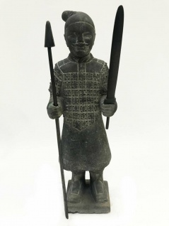 Buddha Buddhafigur Krieger Gartendeko Vulkanstein UVP 219 € 65cm NEU 8800027
