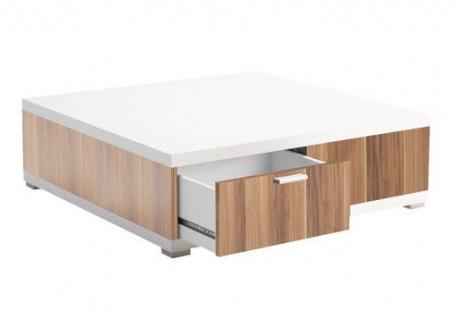 Couchtisch Tisch weiß Nussbaum Beistelltisch Schublade Holzstruktur 2521173