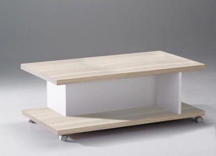 Couchtisch weiß eiche san remo  Couchtisch Beistelltisch Tisch Natur weiß Rollen 2521170 NEU & OVP ...