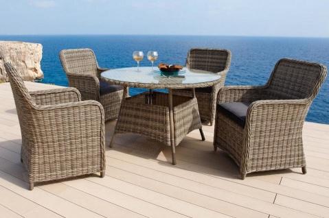 Gartenmöbel Gartengruppe Tisch rund Stühle Rattan braun 7150068