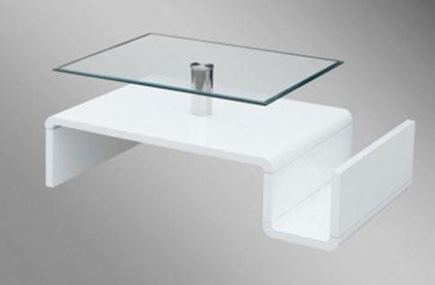 Couchtisch Beistelltisch Tisch Klarglasplatte Ablage weiß Hochglanz 2521190