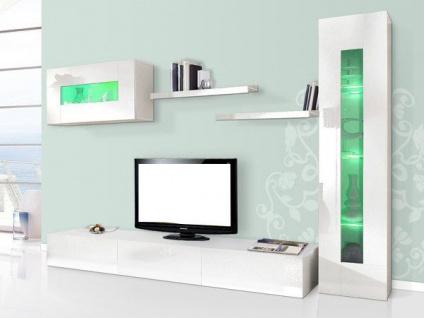 Wohnwand 5tlg Anbauwand Schrankwand TV Board HOCHGL weiß UVP 799€ 252004