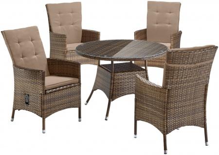 Gartengruppe Essgruppe Balkonmöbel Polyrattan Tisch rund braun UVP 399€ 7150578