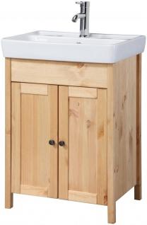 Waschtisch Waschplatz Waschbecken Schrank natur Holz 56cm UVP 299, 99€ 7100642