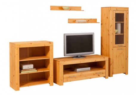 Wohnwand 5tlg Anbauwand Schrankwand TV Board Kiefer massiv UVP 666€ NEU 2521788