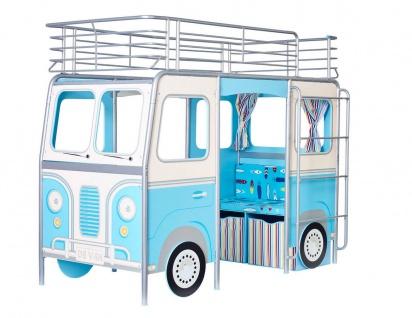 Kinderbett Bett Hochbett Camper Sitzbank Schreibtisch blau NEU 2521876
