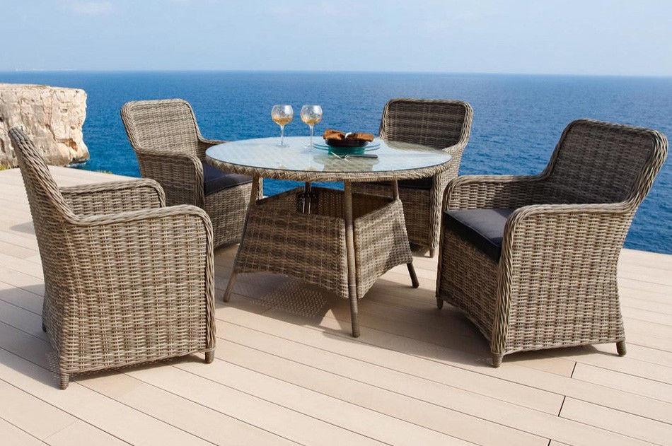 Gartenstühle rattan rund  Gartenmöbel Gartengruppe Tisch rund Stühle Rattan braun 7150068 ...