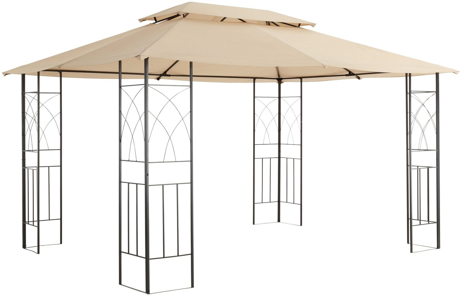 pavillon 3x4 dach ohne seitenteile polyester sand stahl anthrazit 7220482 kaufen bei felis. Black Bedroom Furniture Sets. Home Design Ideas