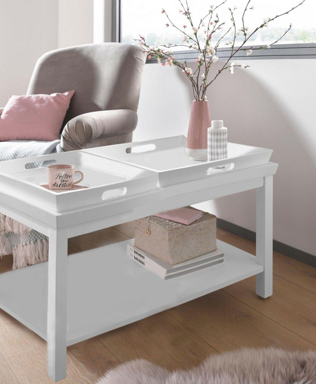 Tisch Beistelltisch Couchtisch Tablett Weiss Tabletttisch Holz Uvp399