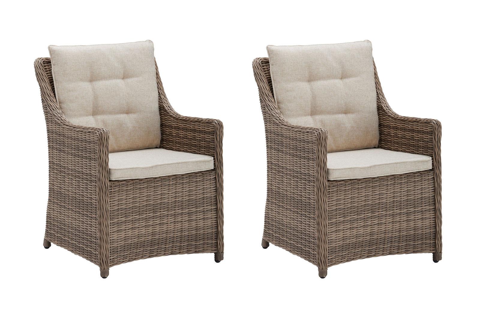 2 Gartensessel Gartenstühle Esstischstühle Polyrattan Sessel Stühle Rio  7150618