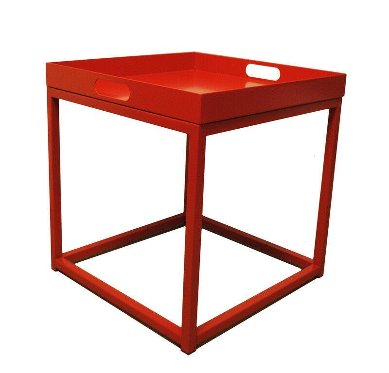 Beistelltisch Couchtisch Tabletttisch Tisch Tablett Rot Metall Uvp