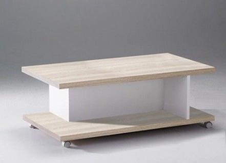 Couchtisch Beistelltisch Tisch weiß Holzstruktur Rollen Ablagefläche 2521170