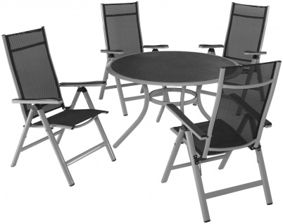 Gartengruppe Essgruppe Tisch rund 119, 5cm Hochlehner Klappstühle NEU 7150629