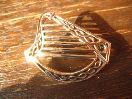 geschmackvolle gold schimmernde Bronze Brosche Harfe Irland Kelten LARP Barde - Vorschau 3