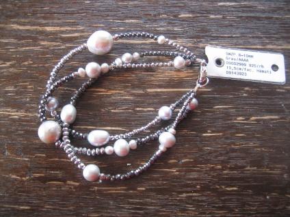 Designer Armband Perlenarmband Perle grau 3reihig Perlen 925er Silber NEU