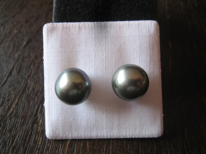 exklusive Designer Ohrringe Stecker 925er Silber Tahiti Perlen grau 10 - 11 mm