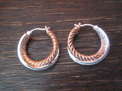 große wuchtige moderne Statement Creolen 925er Silber Rotgold Ohrringe Bicolor - Vorschau 2