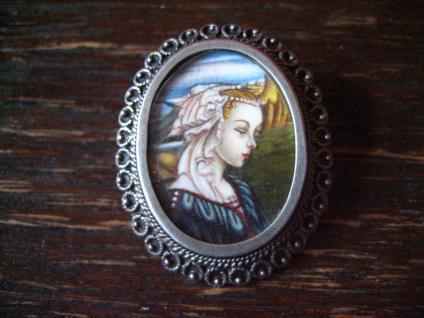 allerfeinste Miniaturmalerei Porträt Dame in Blau Anhänger Brosche 800er Silber