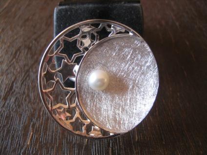prächtiger Statement Ring Mond Halbmond Sterne Perle 925er Silber RG 57 NEU