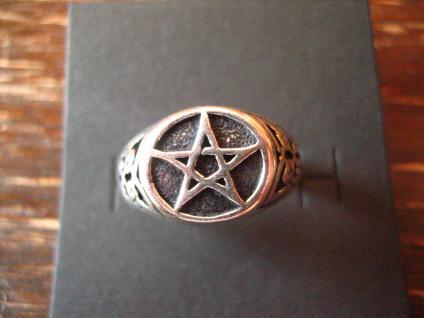 mystischer Pentagramm Ring 925er Silber neu et Nox RG 64 Keltenknoten Magie