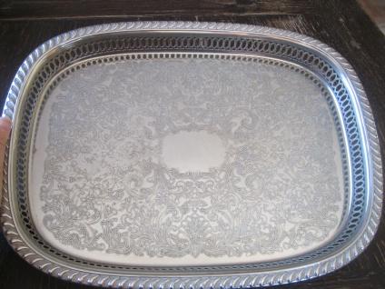 prächtiges großes Silbertablett Galerietablett Tablett silber pl 39 cm England