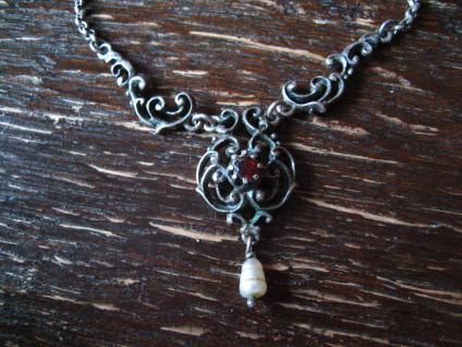 bezauberndes antikes Trachten Dirndl Granat Collier Kette 835er Silber Perle