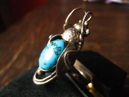 Zikade Türkis Insekt Ring 925er Silber Indianer Native Zuni Indianerschmuck G 61