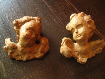 großes prächtiges Paar Engelköpfe 2 Engel Putto Köpfe Holz geschnitzt Handarbeit - Vorschau 1