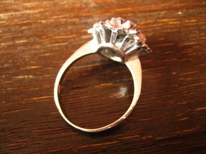prächtiger 70er Jahre Designer Ring Weißgold Optik Rubin 925er Silber rhodiniert - Vorschau 4