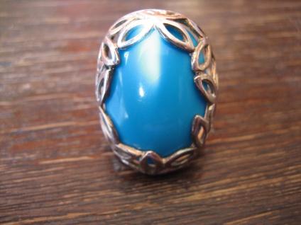 prächtiger vintage Statement Ring mit riesigem türkis Stein 925er Silber wie neu