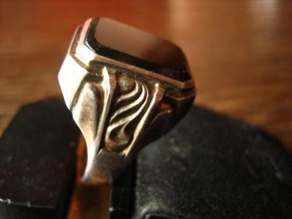 geschmackvoller Art Deco Herrenring Siegelring 835er Silber Onyx Ring RG 65 - Vorschau 2