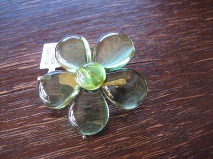 Traum in Giftgrün Anhänger Brosche Blume seltener grüner Bernstein 925er Silber