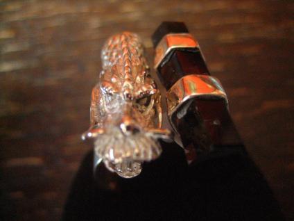 Statement Designer Drache Drachen Ring 925er Silber Vulkanglas 18, 25 mm verstell - Vorschau 4