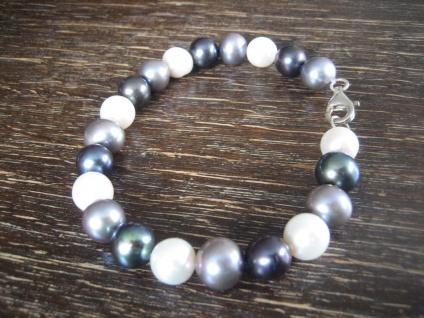 exquisites Perlen Armband AAA mehrfarbig 8 mm rund 925er Silber 20 cm NEU