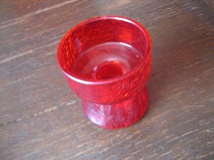 WMF Geislingen Kerzenhalter Kerzenständer 1970 rot Krakeleeglas Cari Zalloni - Vorschau 3