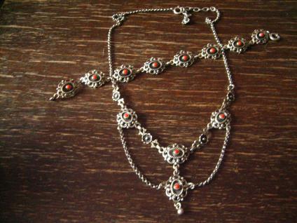 bezauberndes Trachten Collier Kette 835er Silber rote Koralle Dirndl Kropfkette - Vorschau 4
