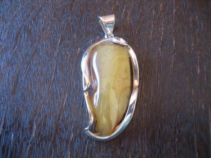 Statement Designer Anhänger 925er Silber Bernstein Butterscotch Amber Unikat NEU