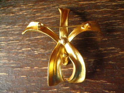 traumhafte Vintage Brosche echte Orchidee 24 ct hartvergoldet gold Risis um 1977 - Vorschau 4