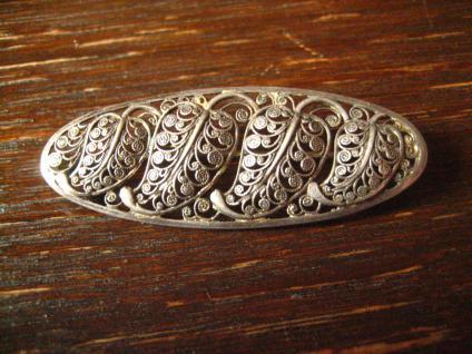 dekorative florale Blatt Brosche feine Durchbrucharbeit 835er Silber filigran - Vorschau 1