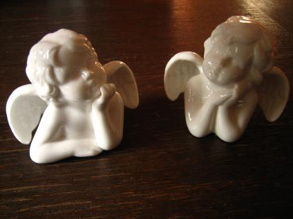 2 süße Porzellan Engel Putto Putti Putten liegend weiß Nostalgie Deko